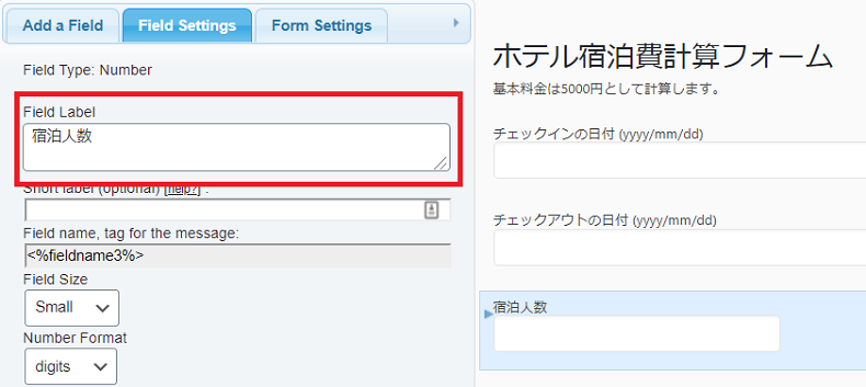 Calculated Fields Form