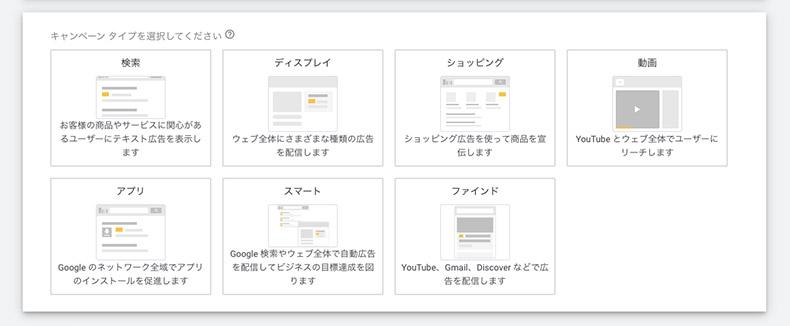 Google広告のキャンペーン選択画面