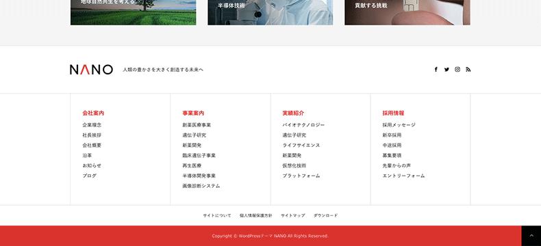 フッターのサイトマップ