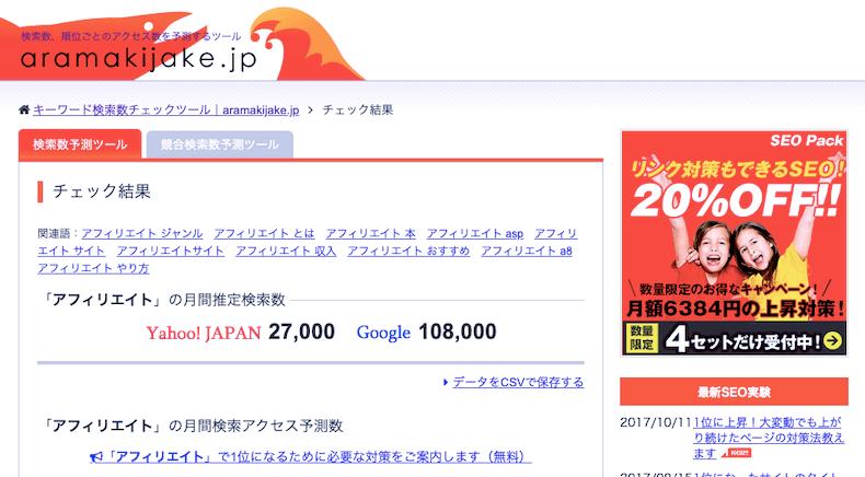 検索数予測ツール「aramakijake」