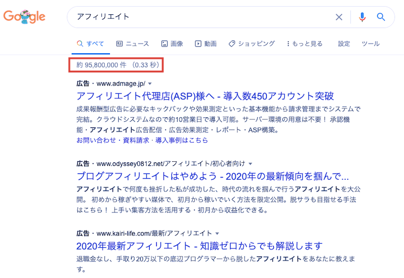 Google検索結果のサイト件数