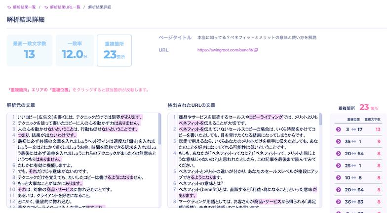 chiyo-coの解析結果詳細画面