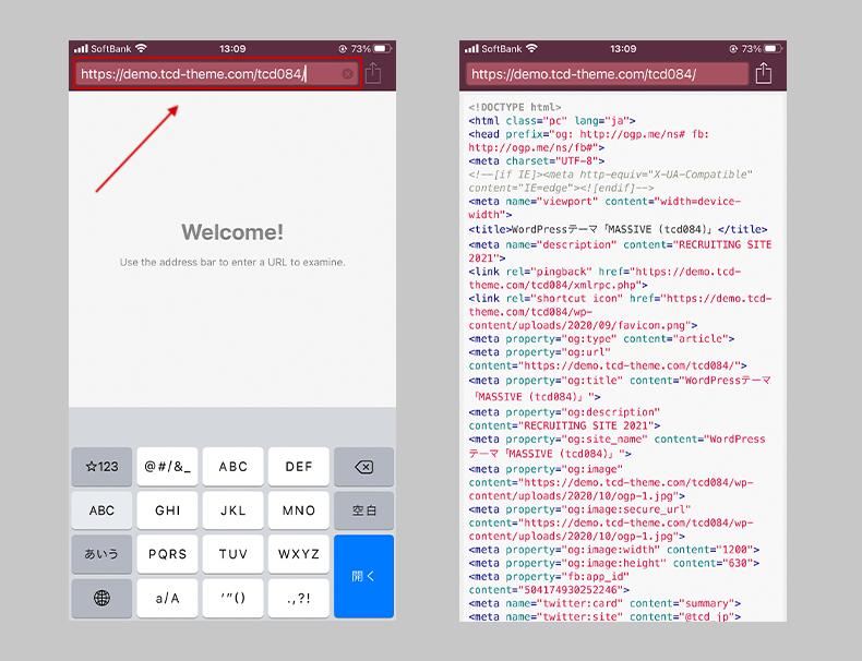 URLを入力してHTMLソースを確認する