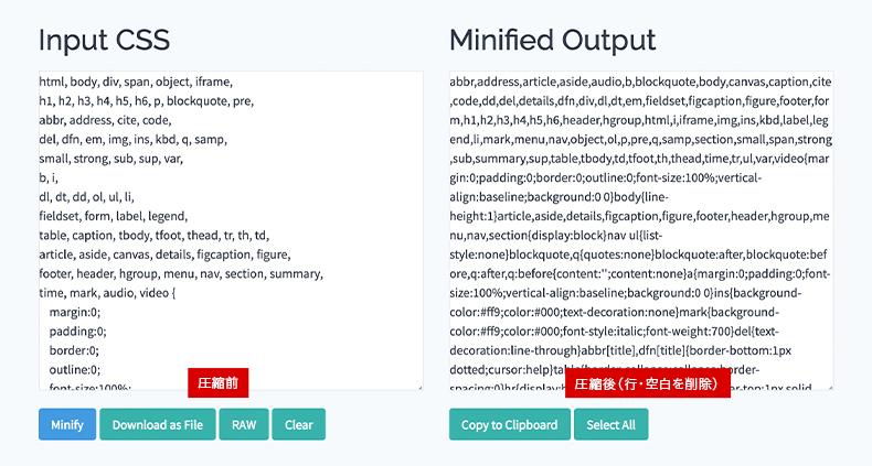 CSS Minifierで圧縮