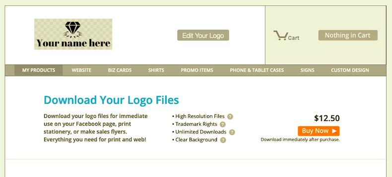 ロゴのプレビュー・購入画面