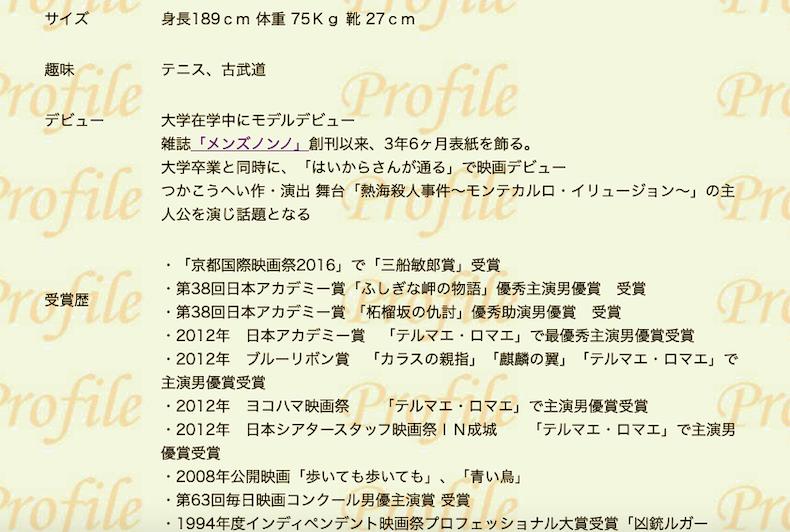 阿部寛さんのプロフィールページ