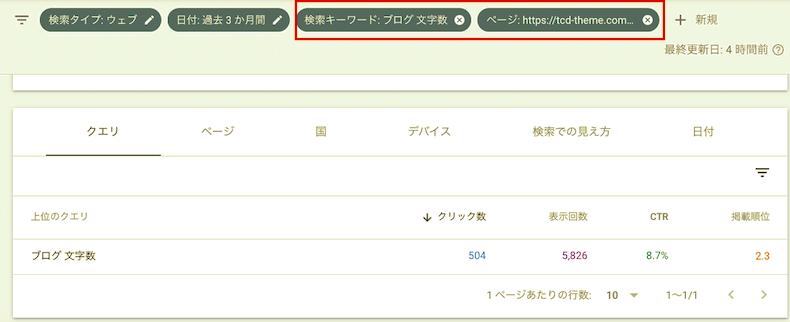 「検索キーワード」と「ページ」のフィルタを追加