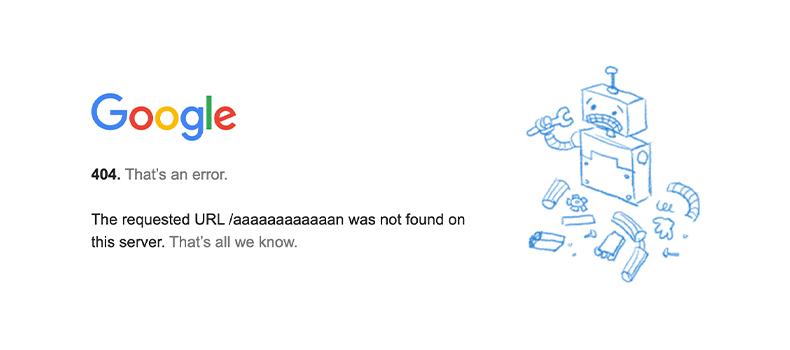 googleの404ページ