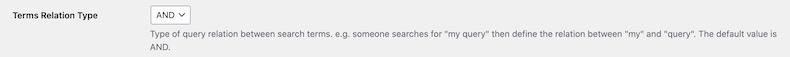 検索時の挙動を設定する項目